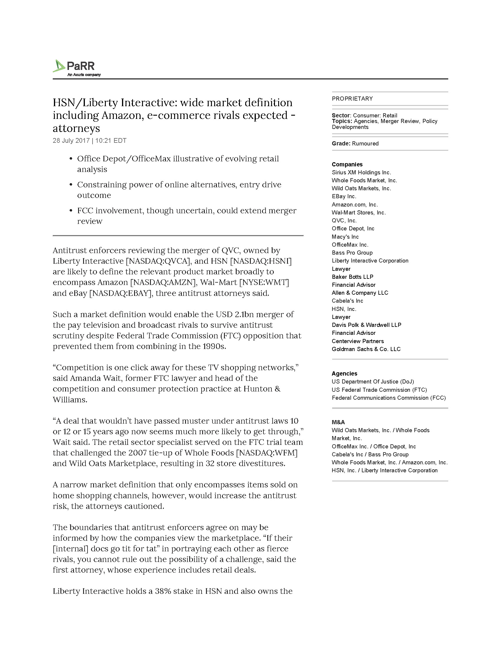 hsnliberty interactive wide market definition including amazon e commerce rivals expected